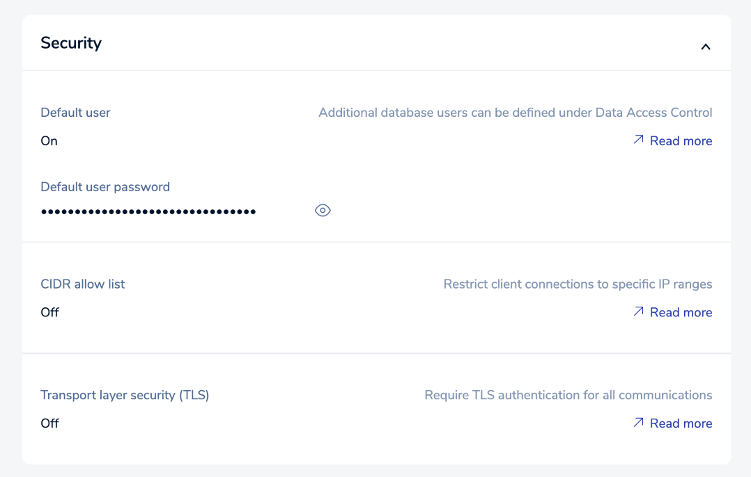 Use the Security settings to control access to your database.