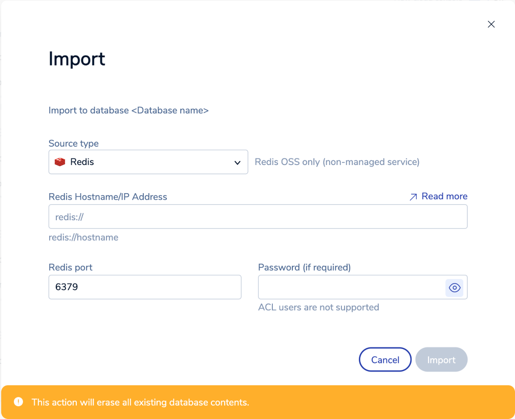 The Import data dialog helps you import data into a database.