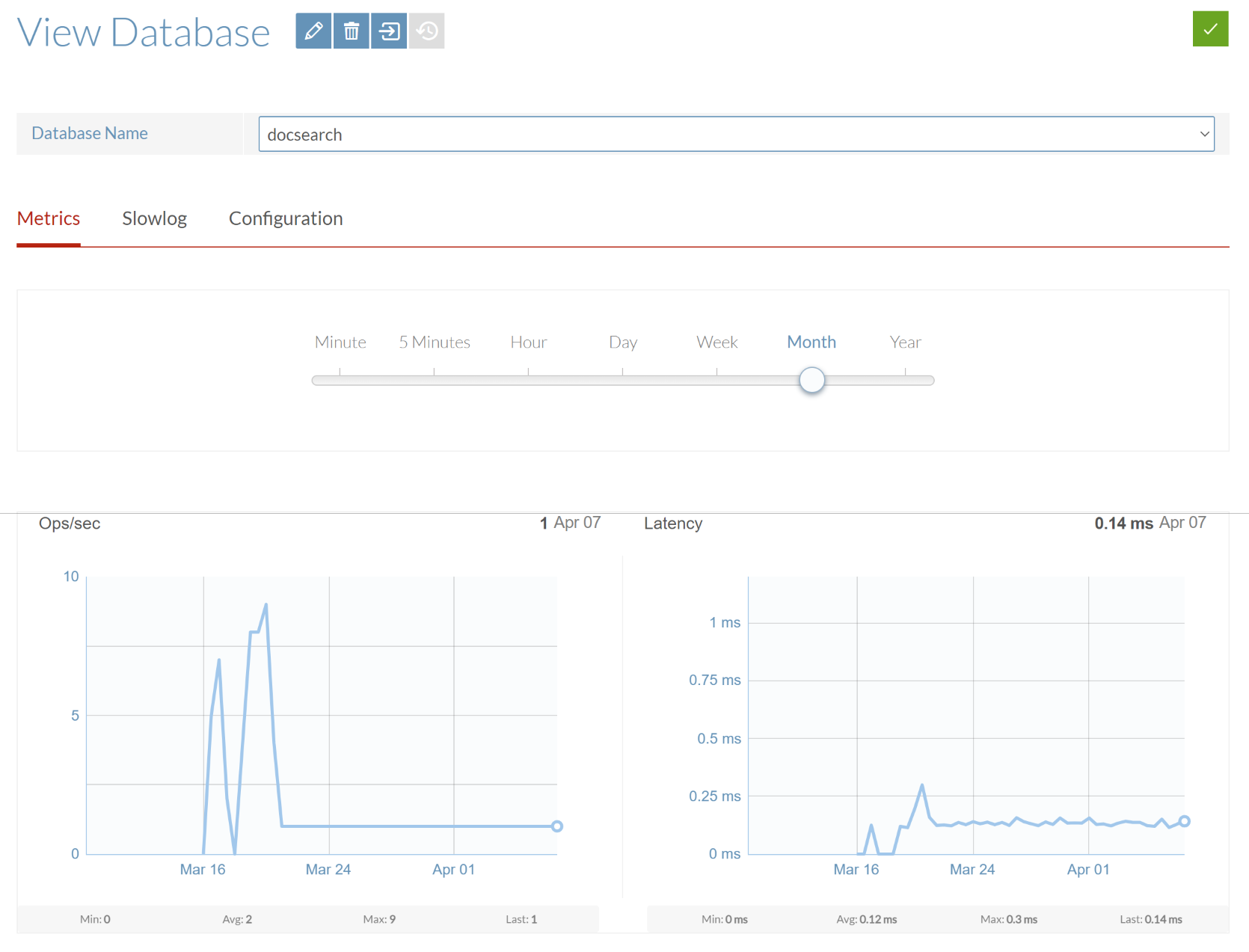 The Metrics tab of the View Database screen.