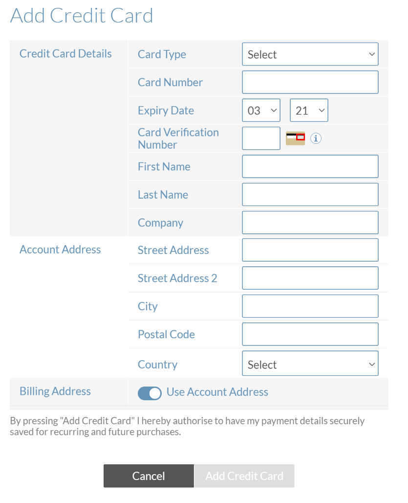 The Add Credit Card screen appears when you create a paid plan before adding a payment method.