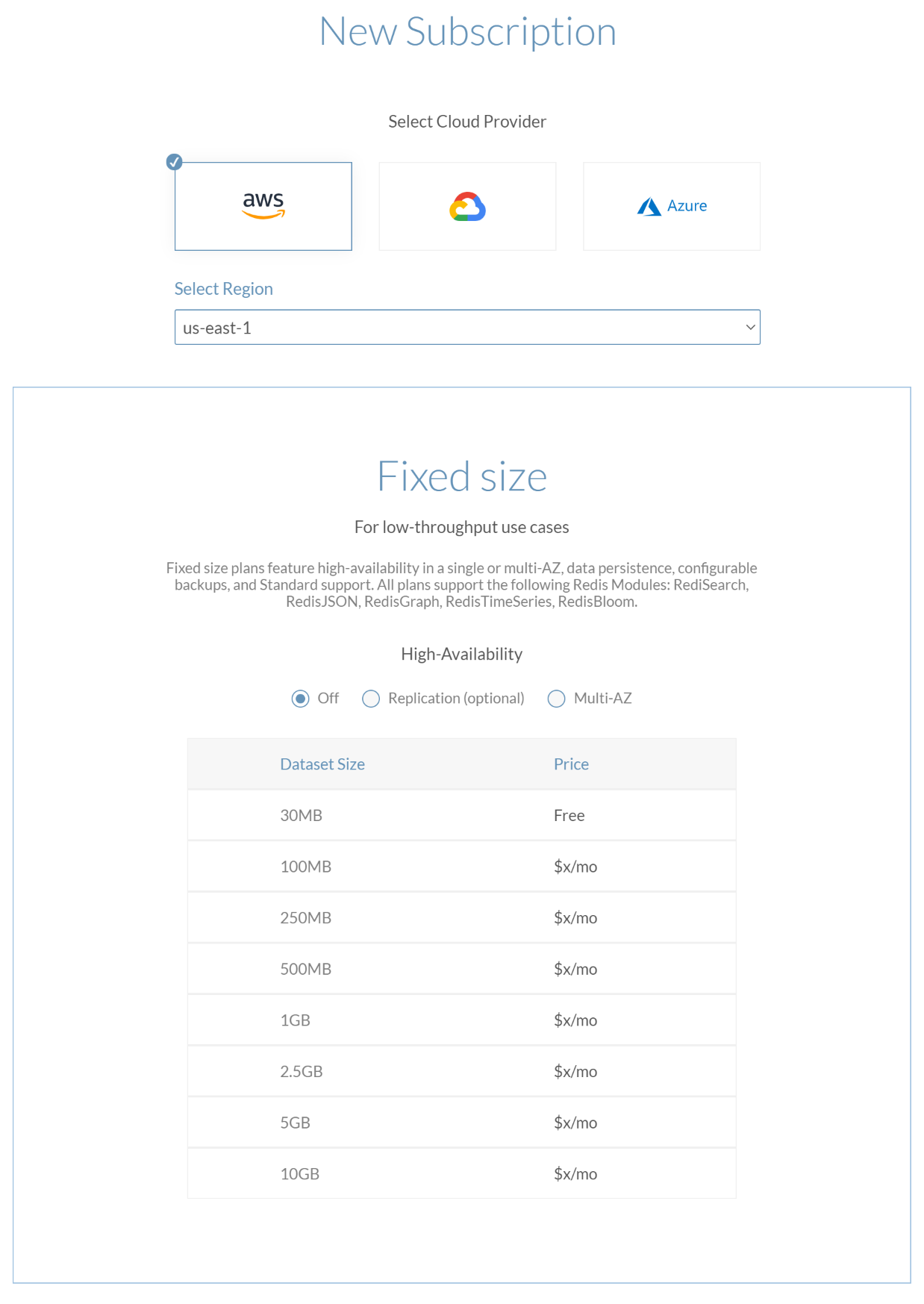 The Fixed Size Plan section of the Create Subscription screen.