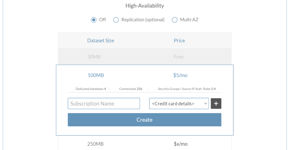 Database name and payment details are needed for paid plans.
