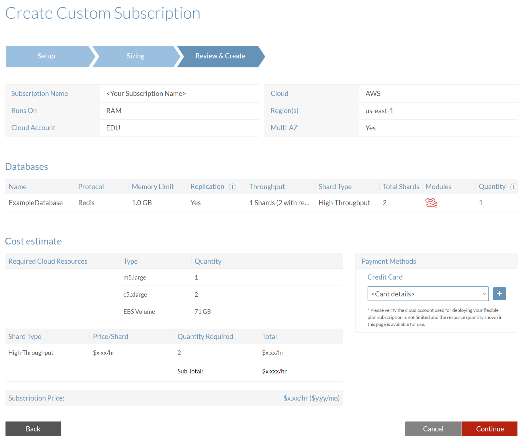 The **Review & Create** tab of the Create Custom Subscription screen.