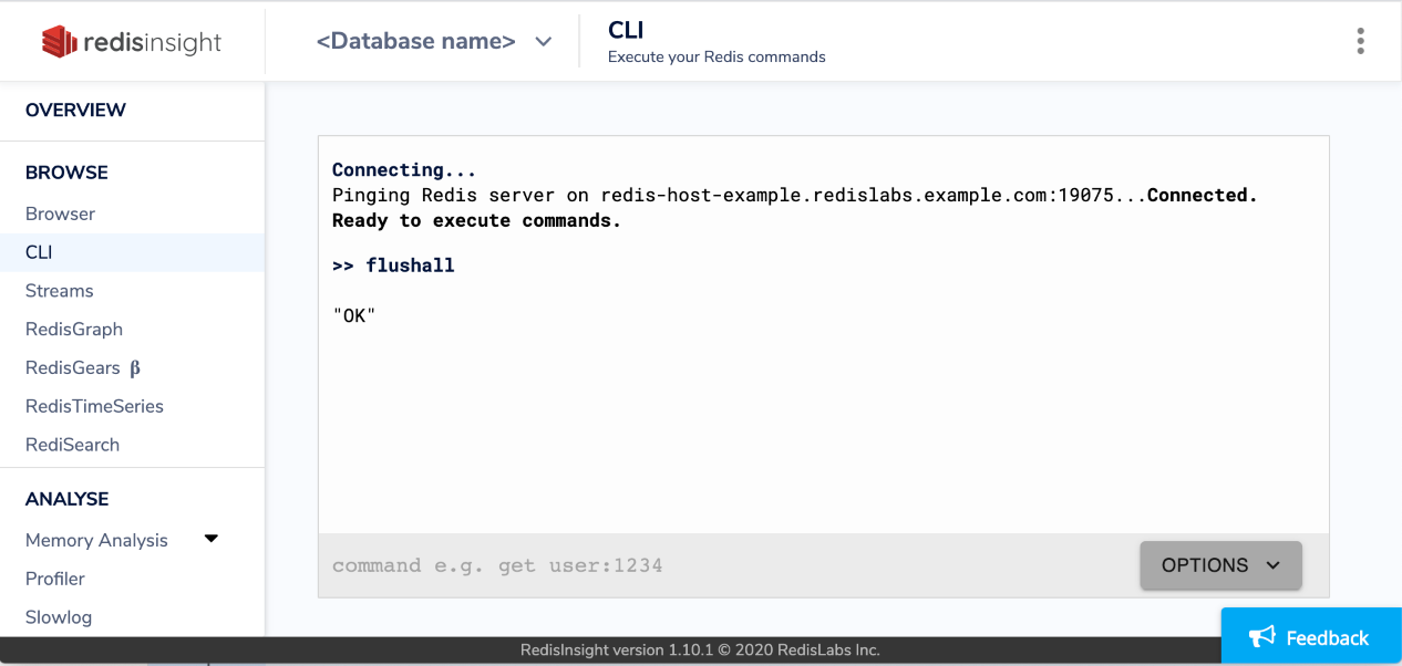You can use RedisInsight to issue commands to a database.