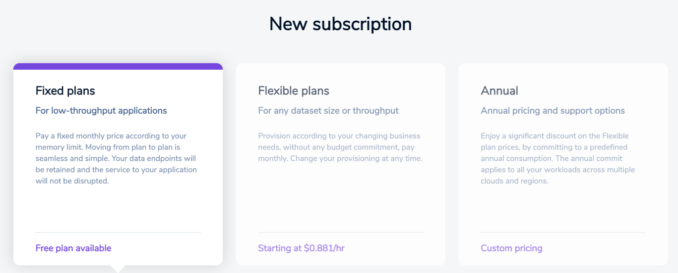 Available subscription plan options.